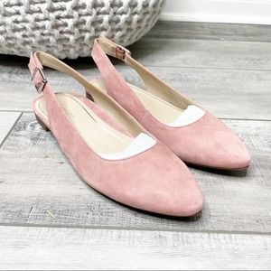 Vionic Jade Suede Slingback Pointed Toe Flats Pink 6.5M